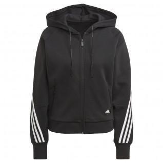Sweatshirt zippé à capuche femme adidas Sportswear Wrapped 3-Bandes